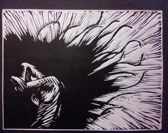 Exciting darkness, print n 2 & 3, linocut