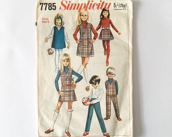 Simplicity 7785 Childs' and Girls' Jumper or Top, Skirt and Pants Pattern 1968