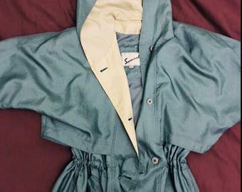 Vintage Womens Full Length Hooded Raincoat Trench Coat Over Coat UK Size 14 US Size 10 Easter Gift for Her From London England