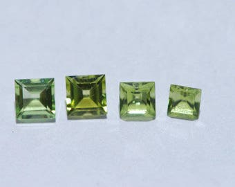 Lot of 4 Peridot, Beautiful, Clean, Bright Green, Faceted Square Shape,  4 - 5mm, 2.4ct total weight