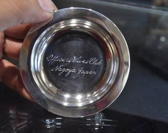 Nagoya Japan Engraved Sterling Silver Officers Wives Club Ashtray Spoon Rest