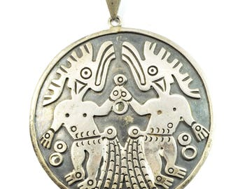 Sterling Silver V.A. Mexico Eagle 3 Taxco Large Tribal Medallion Pendant 3""