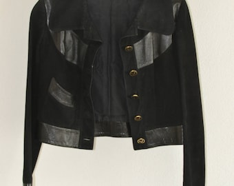 Suede jacket from Mario Valentino leather edging