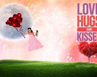 Heart Balloon Valentines Backdrop, Heart Balloon Valentines Background, Valentines Digital Backdrop, Valentines Digital Background, Romantic