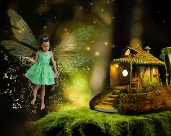 Fairy House Digital Background, Fairy House Digital Backdrop, Fairy Digital Backdrop, Fairy Digital Background, Magical Forest Background