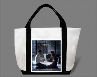 Dakota Johnson Jamie Dornan Canvas Tote Bag #0013