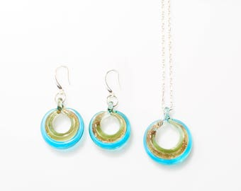SELINA - Sterling Silver Murano Glass Hand-Made Jewelry Set