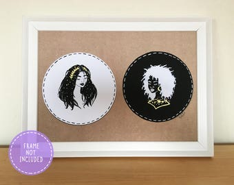 Black and White Starry Girls Art Print with Gold Ink Embellishments