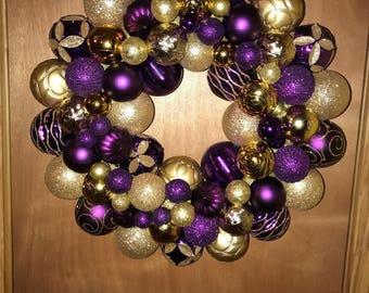 """14"""" Purple & Gold Ornament Wreath"""