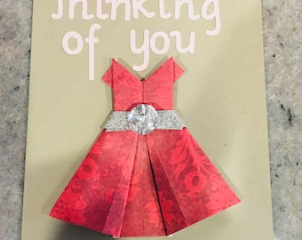 Thinking Of You   Origami dress card