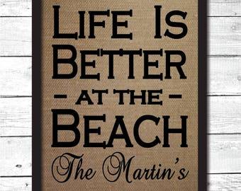 beach house decor, beach house wall art, personalized beach house gift, personalized beach sign, beach house decoration, beach gift, B9