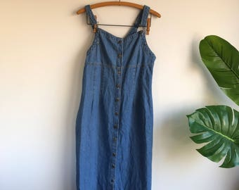 Vintage 90's Suspenders Denim Dress