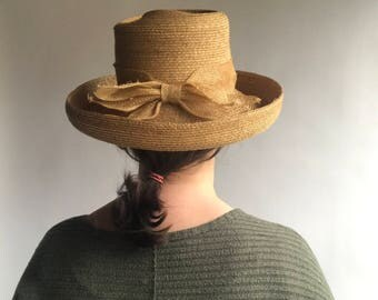 Vintage Straw Hat with Bow