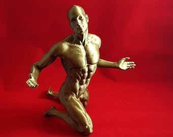 MM10 - 3D Printed Muscular Nude Man Kneeling with Arms Outstretched