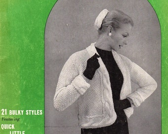 1950's, eBook, 21 Bulky Style Jackets, Knitting Pattern. Instant Download.