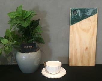 Resin8 Australia - Wooden Riata Pine Serving Board Emerald Green and Pearl White Resin Detail Handmade