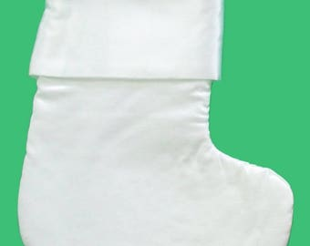 White Satin Christmas Stocking