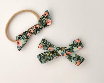 Rifle Paper Co. Hunter Rosa Bow | baby headband, hand tied bows, hair bows, nylon headband, alligator clip, oversized bow, pinwheel bow