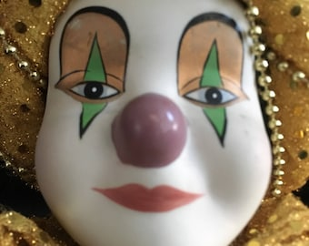 Vintage Porcelain and cloth Jester doll with porcelain hands and face!!! Mardi Gras