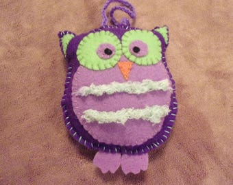 Purple and lavender Owl Christmas ornament decoration with green fuzzy belly