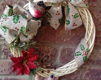 holly ribbon robin wreath