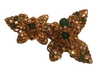 Vintage Miriam Haskell Gold Filagree Brooch Pin