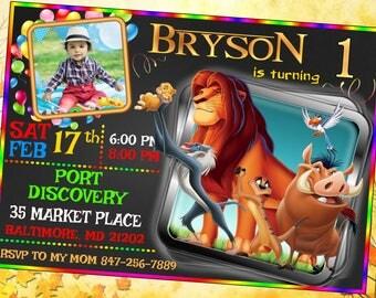 Lion King Invitation, Lion King Birthday, Lion King Invite, Lion King Party, Lion King Print, Lion King Custom, Timon Pumba Simba Invitation