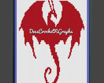 Red Dragon C2C Graphghan Color Block Pattern