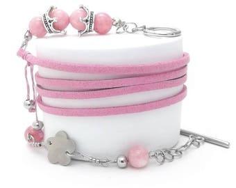 Wrap Bracelet, Stainless Steel Beads, Rings and Claps, Quartz Stone Beads, Pink Color Velvet Cord, Steel Flower Charm