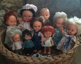 Set of 9 German vintage baby dolls from Goebel designed by Charlot Byj 1957-1966