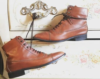 Vintage oxford style leather boots size 5