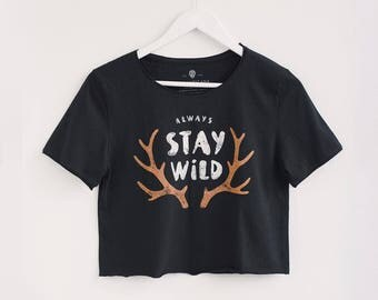 Stay Wild T-shirt with Original artwork printed by hand