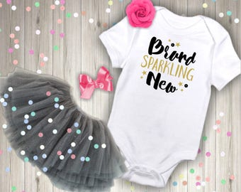 Brand Sparkling New bodysuit, Baby bodysuit, baby girl bodysuit, baby shirt, baby shower gift, coming home outfit, baby clothes,