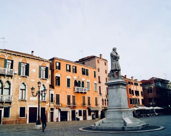 Old Italian square in the colorful city of Venice, Wall decor, Photography print