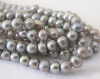 5-5.5mm Potato Silver Grey Freshwater Pearl Beads, High Luster Genuine Freshwater Pearls, SIlver Grey Potato Cultured Pearl Beads (PSG-061)