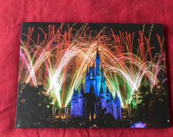 NEW Disney GLITTERED Castle Canvas
