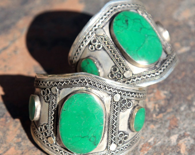 BRACELET Pair (2pcs) Turkoman Tribal Real MALACHITE Belly Dance 502a100