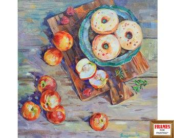 Original Still life painting Apples art Peach art Donut art IMPRESSIONISM Acrylic painting Kitchen decor Wall art Colopful painting Gift art