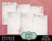 Printable Writing Paper, Printable Journal Pages, Printable Stationery, Half Page Size, Spring Blush