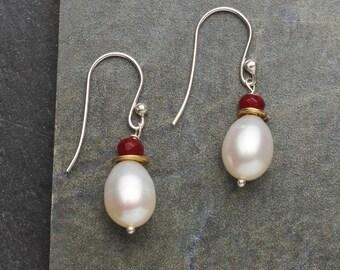 Pearl & Ruby Earrings