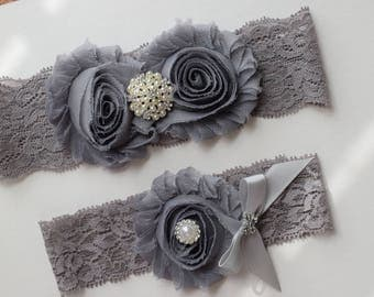 Grey Flower GarterBridal Garter Set Keepsake Toss Stretch Lace