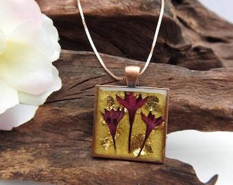 "Natural Dried Crimson Pentas Blooms resin cast Square Antique Copper Pendant with 17"" Necklace"