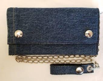 Blue Jean Denim Leather Biker Chain Wallets