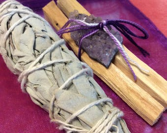 Smudge Set / Cleansing / Healing / Protection / Palo Santo / Holy Wood / Organic White Sage