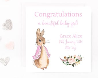 Personalised New Baby Girl Card, Peter Rabbit Baby Card, Beatrix Potter Personalised Baby Card, Birth, Handmade Baby Girl Card, New Arrival