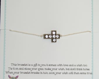 Cross Wish Bracelet!!  Handmade!  Customization Available!