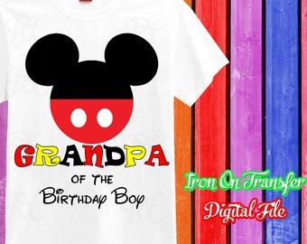Grandpa, Mickey Grandpa Iron On Transfer, Iron On Mickey Shirt, Mickey Mouse Birthday Boy Grandpa Iron On, Digital File, Instant Download