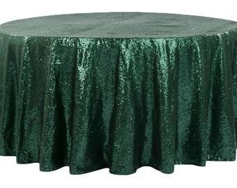 "108"" Emerald Green Sequin Overlay Wedding Table Cloth Topper Sale Boho Sparkly Wholesale Sequin Garden Theme Wedding Glitter Green Runner"