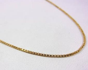 """Solid 14K Yellow Gold 20"""" 1mm Box Link Chain Necklace, 2.4 grams"""