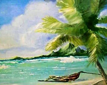 Beautiful Island paradise landscape poster print